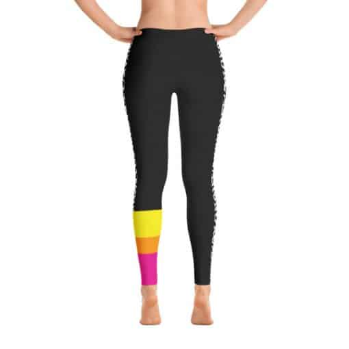 80s Colorblock Leggings | 80s Style Multicolored Dark Track Leggings Back