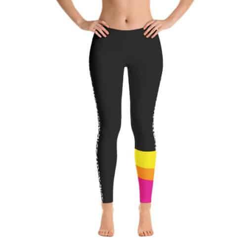 80s Colorblock Leggings | 80s Style Multicolored Dark Track Leggings Front