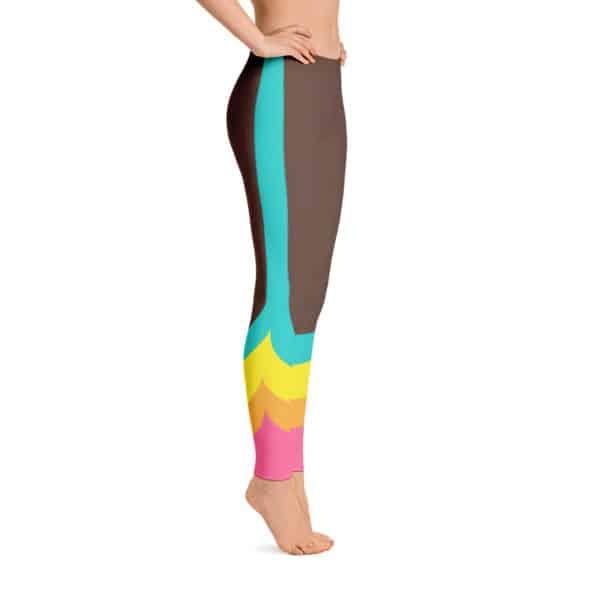 80s Colorblock Track Leggings Brown