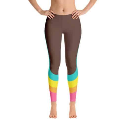 80s Colorblock Track Leggings Brown Front