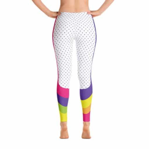 90s Style Print Leggings | 90s Style Patterned Multicolored Leggings Back