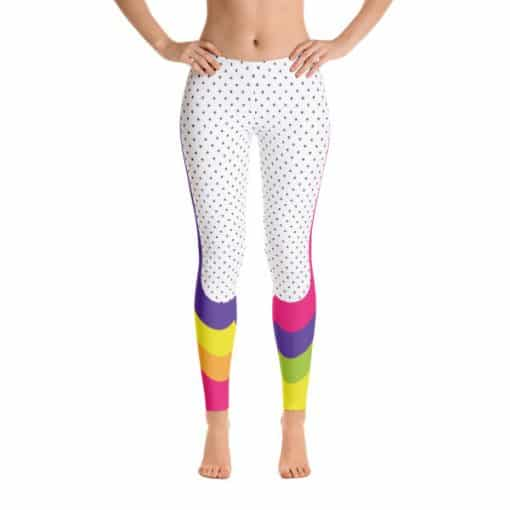 90s Style Print Leggings | 90s Style Patterned Multicolored Leggings Front