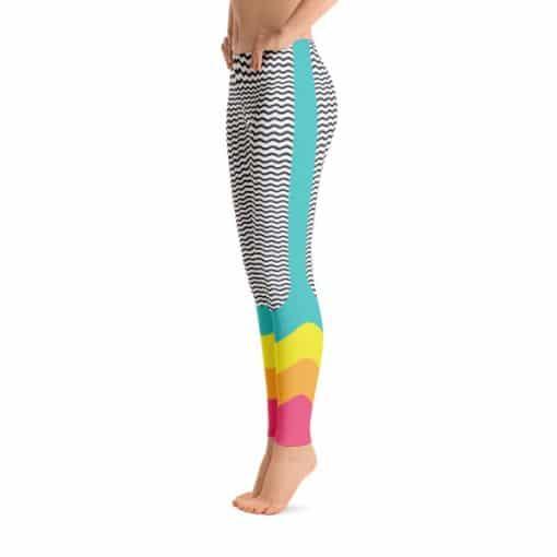 90s Style Wave Print Leggings by Treaja Side View