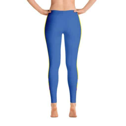 Blue and Yellow Track Leggings | Ocean Blue with Yellow Stripes 4 Way Stretch Track Leggings by Treaja