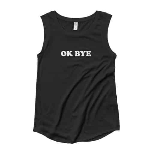 Ok Bye Slogan Cap Sleeve T-Shirt