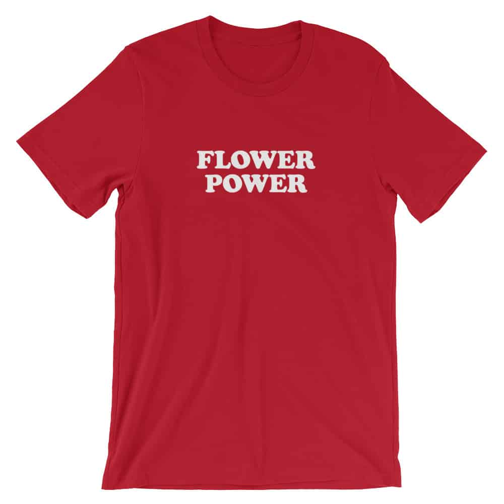 Flower Power Red Vintage Slogan Unisex T-Shirt by Treaja®