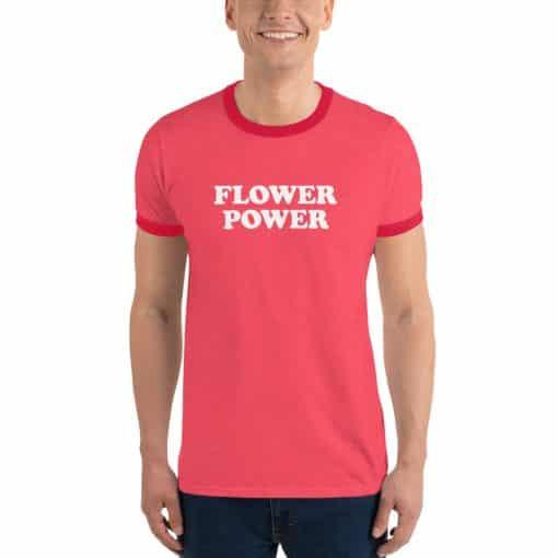Flower Power Vintage Slogan Red Ringer T-Shirt by Treaja®