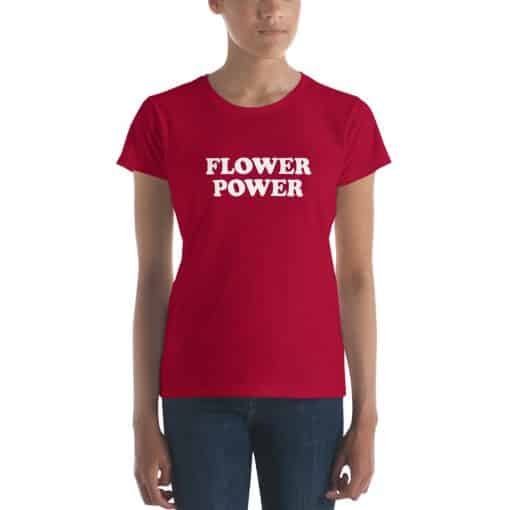 Women's Flower Power Shirt by Treaja® | Vintage Red Slogan T-Shirt for Women