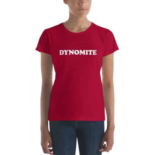 Women's Dynomite Shirt by Treaja® | Vintage Red Slogan T-Shirt for Women