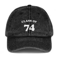 Class of 74 Class Reunion Vintage Cap by Treaja® | Retro 45 Year Class Reunion Distressed Vintage Dad Hat