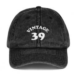 1939 Birthday Vintage Cap by Treaja® | Retro 80th Birthday Distressed Vintage Dad Hat