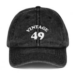 1949 Birthday Vintage Cap by Treaja® | Retro 70th Birthday Distressed Vintage Dad Hat