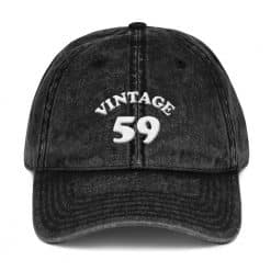 1959 Birthday Vintage Cap by Treaja® | Retro 60th Birthday Distressed Vintage Dad Hat
