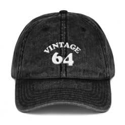 1964 Birthday Vintage Cap by Treaja® | Retro 55th Birthday Distressed Vintage Dad Hat