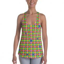 Women's Neon Polka Dot 60s Style Racerback Tank Top by Treaja®