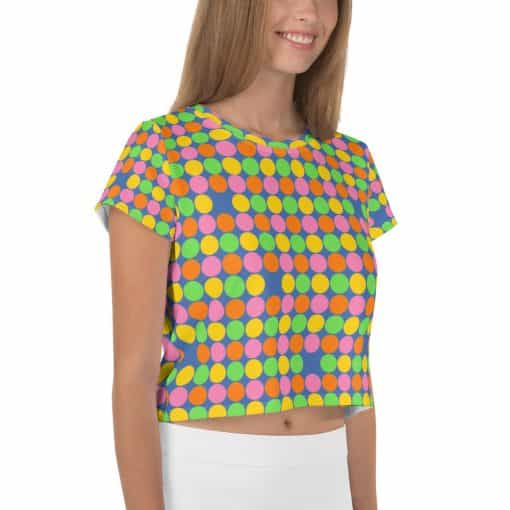 Neon Polka Dot 60s Style Crop Top by Treaja®