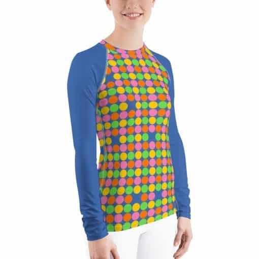 Women's Neon Polka Dot 60s Style Rash Guard by Treaja®