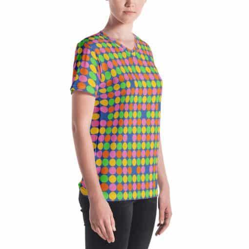 Women's Neon Polka Dot 60s Style V-neck T-Shirt by Treaja®