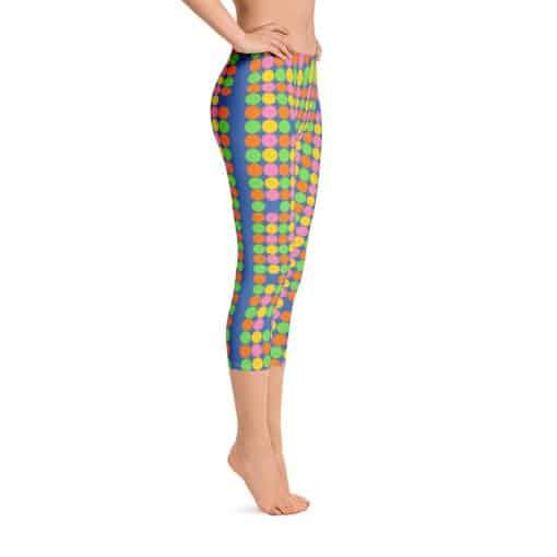 Women's Neon Polka Dot 60s Style Capri Leggings