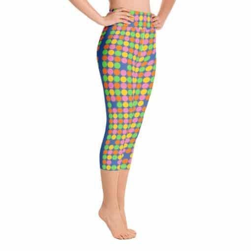 Women's Neon Polka Dot 60s Style Yoga Capri Leggings