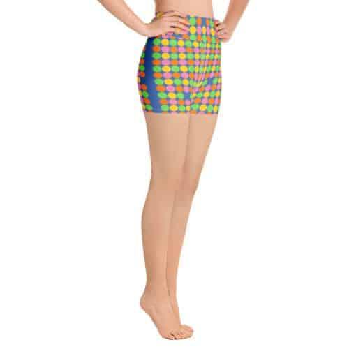 Women's Neon Polka Dot 60s Style Yoga Shorts