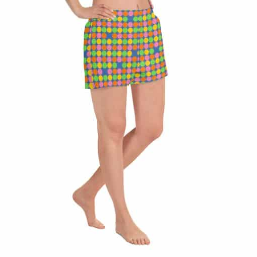 Women's Neon Polka Dot 60s Style Athletic Short Shorts