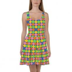 Neon Polka Dot 60s Style Skater Dress by Treaja®