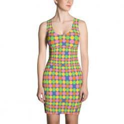 Neon Polka Dot 60s Style Dress