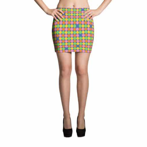 Neon Polka Dots 60s Style Mini Skirt by Treaja®