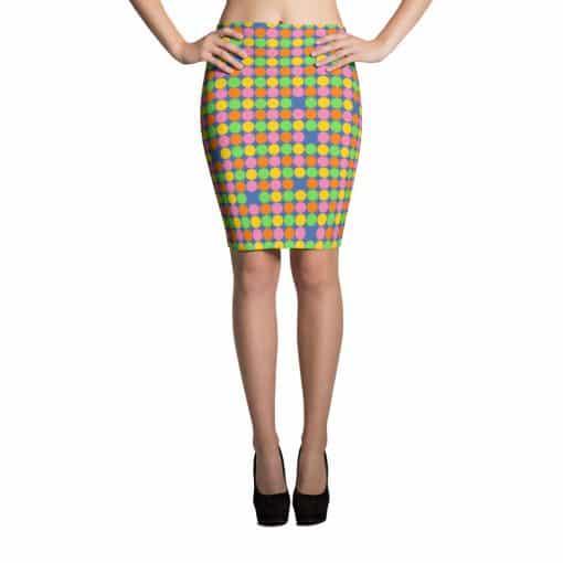 Neon Polka Dot 60s Style Pencil Skirt by Treaja®