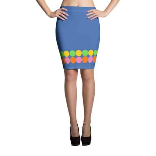 Neon Polka Dot 60s Style Blue Pencil Skirt by Treaja®