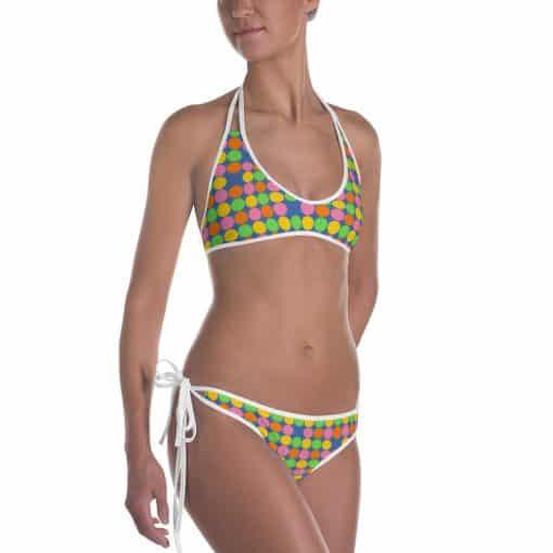 Neon Polka Dot 60s Style Bikini by Treaja®