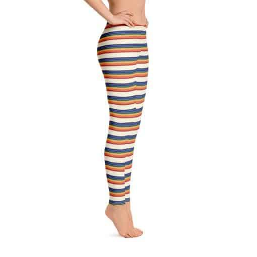 Women's Vintage Rainbow Stripe Leggings by Treaja® | Striped Leggings for Women