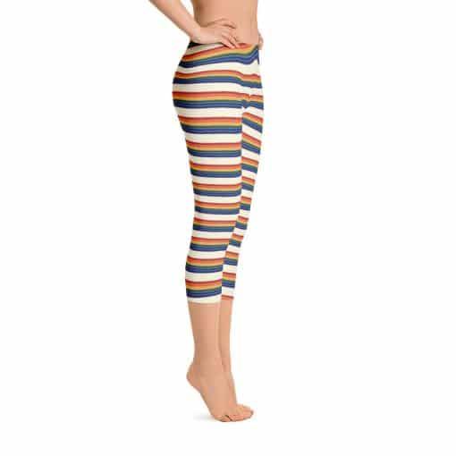 Women's Vintage Rainbow Stripe Capri Leggings by Treaja® | Vintage Striped Capri Leggings for Women