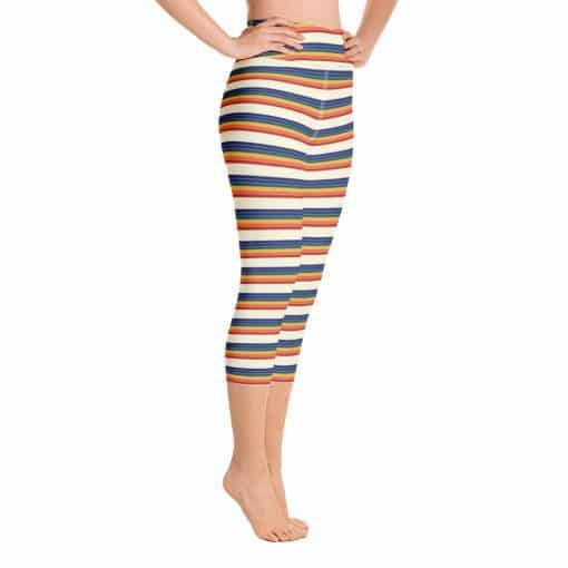 Women's Vintage Rainbow Stripe Yoga Capri Leggings by Treaja® | Vintage Striped High Waisted Capri Leggings for Women