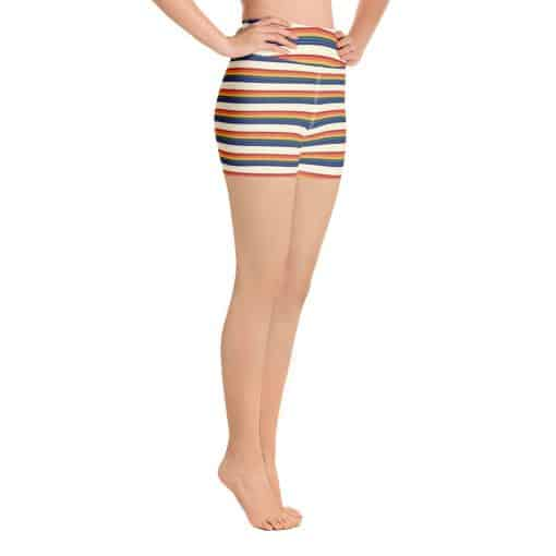 Women's Vintage Rainbow Stripe Yoga Shorts by Treaja® | Vintage Striped High Waisted Shorts for Women