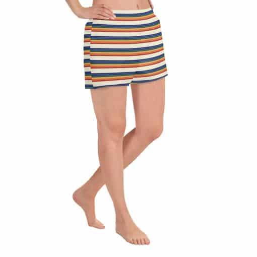 Women's Vintage Rainbow Stripe Athletic Short Shorts by Treaja® | Vintage Striped Athletic Shorts for Women