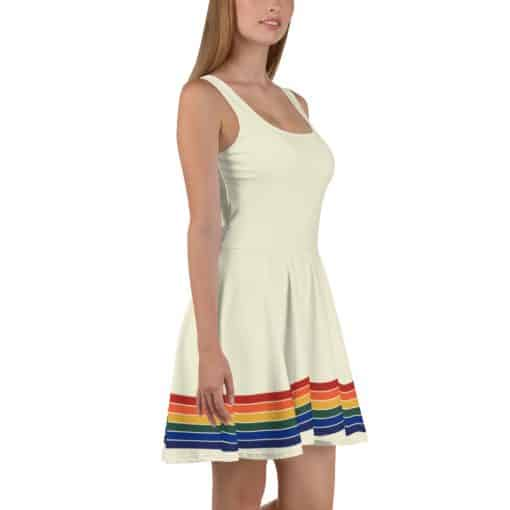 Vintage Rainbow Stripe Skater Dress by Treaja® | 70s Style Fit and Flare Dress