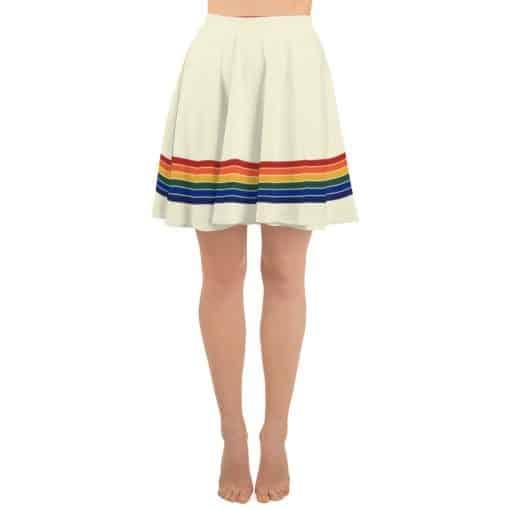 Vintage Rainbow Stripe Skater Skirt by Treaja® | 70s Style Striped Skater Skirt