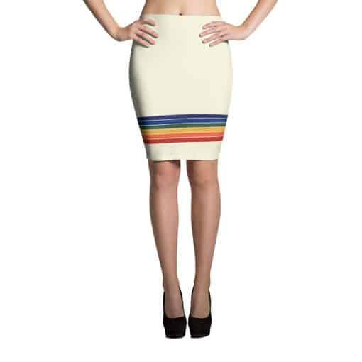 Vintage Rainbow Stripe Pencil Skirt by Treaja® | 70s Style Striped Pencil Skirt