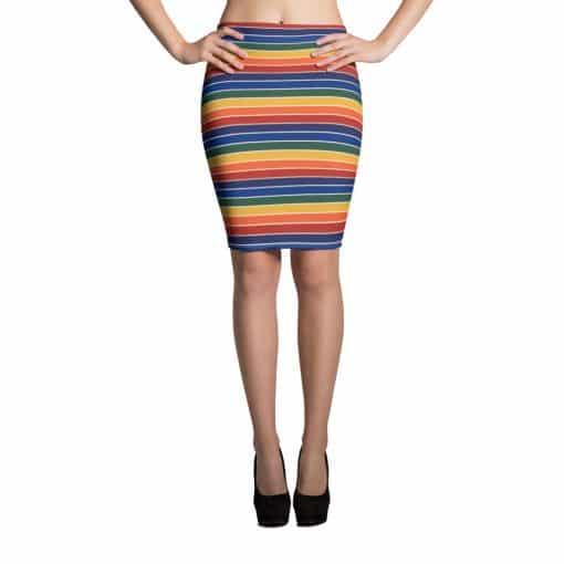 Treaja® Vintage Rainbow Stripe Pencil Skirt