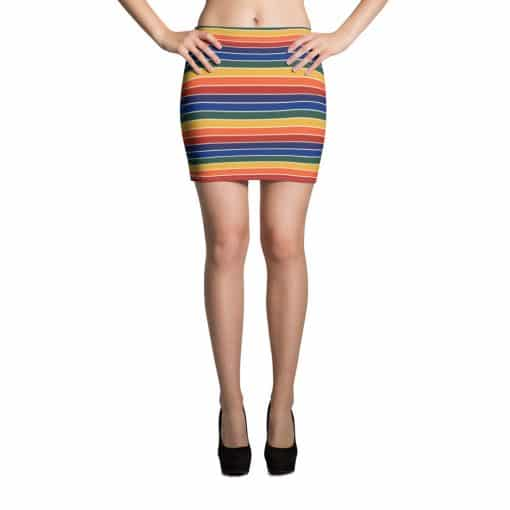 Treaja® Vintage Rainbow Stripe Mini Skirt