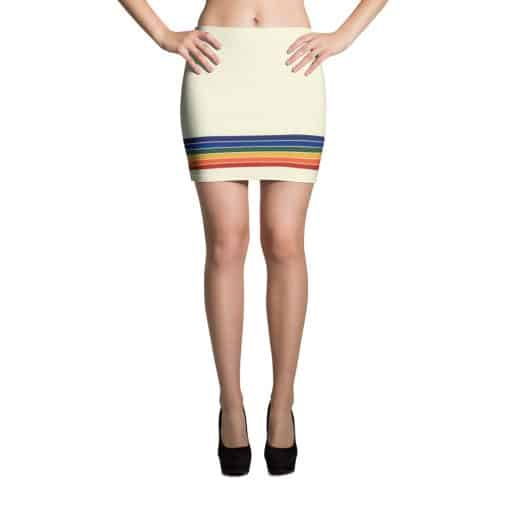Vintage Rainbow Stripe Mini Skirt by Treaja® | 70s Style Pencil Mini Skirt