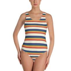 Women's Vintage Rainbow Stripe One-Piece Swimsuit by Treaja®