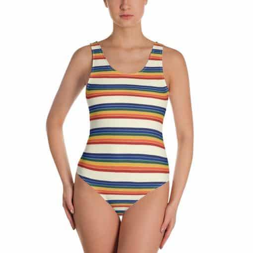 Women's Vintage Rainbow Stripe One-Piece Swimsuit by Treaja®