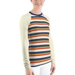 Treaja® Women's Vintage Rainbow Stripe Rash Guard