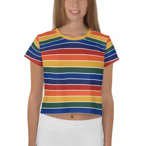 Treaja® Women's Vintage Rainbow Stripe Crop Top