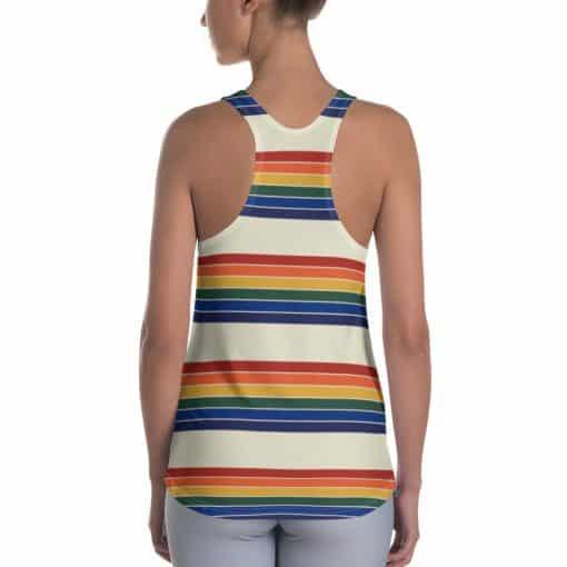 Treaja® Women's Vintage Rainbow Stripe Racerback Tank Top