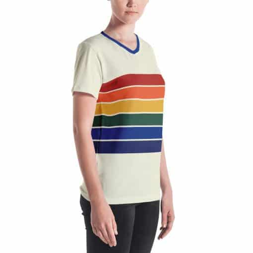 Treaja® Women's Vintage Rainbow Stripe V-neck T-Shirt