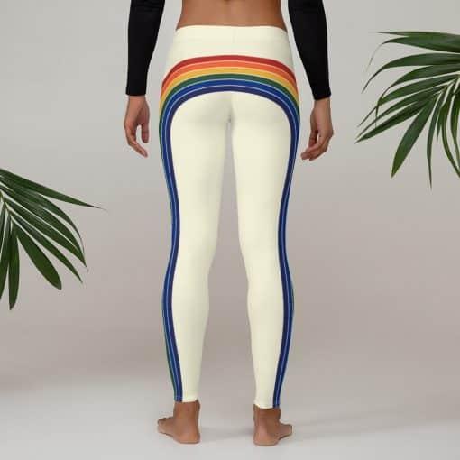 Treaja® Women's Vintage Rainbow Side Striped Leggings